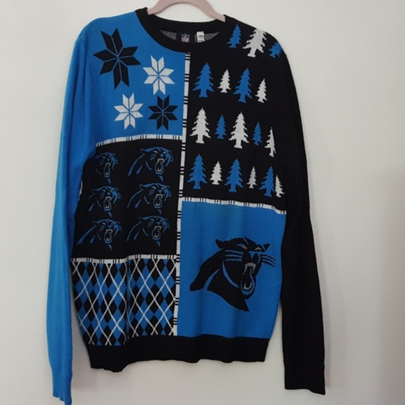 Nfl Sweaters Carolina Panthers Ugly Sweater Blue Black Xl Poshmark